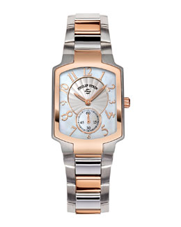Philip Stein Small Classic Two-Tone Rose Gold Watch Head & Two-Tone Rose Gold Bracelet, 18mm