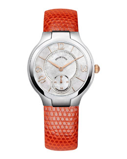 Philip Stein Small Round Watch Head & Orange Lizard Strap, 18mm