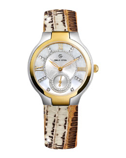 Philip Stein Small Two-Tone Mother-of-Pearl Diamond Watch Head & Bronze Lizard Strap, 18mm