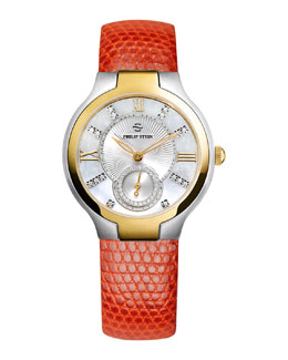 Philip Stein Small Two-Tone Mother-of-Pearl Diamond Watch Head & Orange Lizard Strap, 18mm