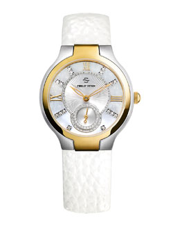 Philip Stein Small Two-Tone Mother-of-Pearl Diamond Watch Head & 18mm Small Grainy Calfskin Strap, White