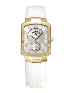 Philip Stein Small Classic Gold-Plated Watch Head & 18mm Small Grainy Calfskin Strap, White