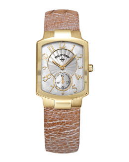 Philip Stein Small Classic Gold-Plated Watch Head & 18mm Small Ostrich Strap, Champagne