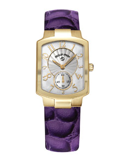 Philip Stein Small Classic Gold-Plated Watch Head & 18mm Alligator-Print Strap, Purple