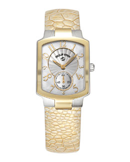 Philip Stein Small Classic Two-Tone Gold Watch Head & Golden Ostrich Strap, 18mm