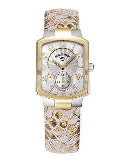 Philip Stein Small Classic Two-Tone Gold Watch Head & 18mm Metallic Snake-Print Strap, Gold