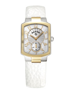 Philip Stein Small Classic Two-Tone Gold Watch Head & 18mm Small Grainy Calfskin Strap, White