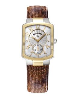Philip Stein Small Classic Two-Tone Gold Watch Head & 18mm Lizard-Print Leather Strap, Brown