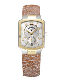 Philip Stein Small Classic Two-Tone Gold Watch Head & 18mm Small Ostrich Strap, Champagne