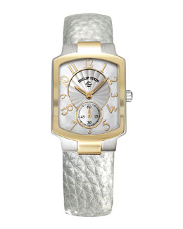 Philip Stein Small Classic Two-Tone Gold Watch Head & 18mm Small Grainy Calfskin Strap, Platinum