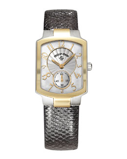 Philip Stein Small Classic Two-Tone Gold Watch Head & 18mm Karung Strap, Gunmetal