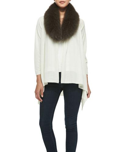 Alice + Olivia Izzy Fur Collar & Open-Front Cardigan