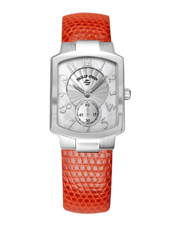 Philip Stein Small Classic Mother-of-Pearl Watch Head & Orange Lizard Strap, 18mm