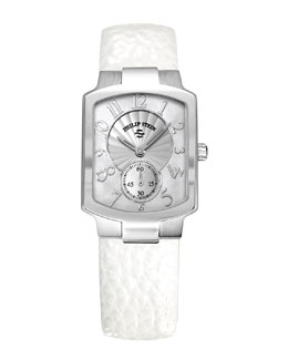 Philip Stein Small Classic Mother-of-Pearl Watch Head & 18mm Small Grainy Calfskin Strap, White