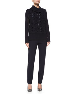 Rena Lange Chiffon-Inset Cable Sweater and Wool Crepe Ankle Trousers