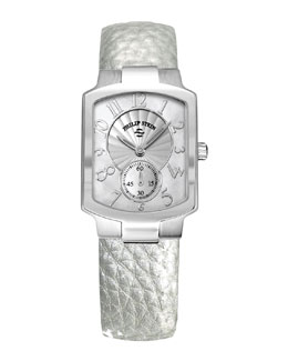 Philip Stein Small Classic Mother-of-Pearl Watch Head & 18mm Small Grainy Calfskin Strap, Platinum