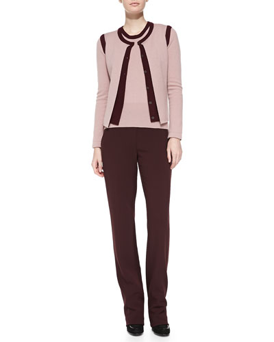 Rena Lange Two-Tone Cashmere Cardigan, Contrast-Edge Tank & Straight-Leg Trousers
