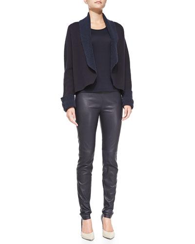 Rena Lange Shawl-Collar Jacket with Tweed Reverse, Short-Sleeve Jersey Tee & Pull-On Leather Leggings