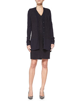 Rena Lange Sleeveless Looped-Tweed Dress and Long Tweed-Panel Cardigan