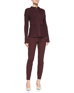 Rena Lange Multi-Stitch Snap-Down Cardigan & Five-Pocket Stretch Ankle Jeans