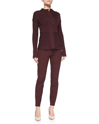Rena Lange Multi-Stitch Snap-Down Cardigan & Five-Pocket Stretch Ankle Jeans