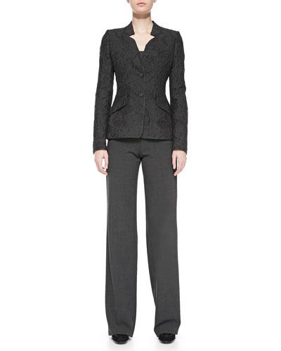 Rena Lange Two-Button Fil Coupé Jacket, Knit Tank & Wide-Leg Side-Zip Trousers