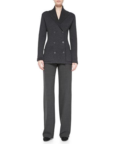 Rena Lange Double-Breasted Cardigan, Knit Tank & Wide-Leg Side-Zip Trousers