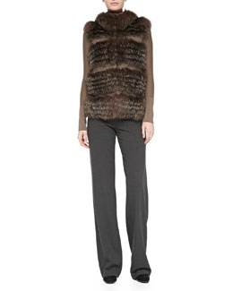 Rena Lange Tiered Fox Fur and Knit Vest, Wool Long-Sleeve Sweater & Wide-Leg Side-Zip Trousers