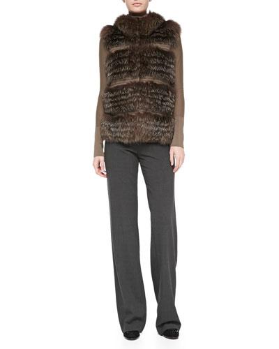 Rena Lange Tiered Fox Fur and Knit Vest, Wool Long-Sleeve Sweater & Wide-Leg Side-Zip Trousers
