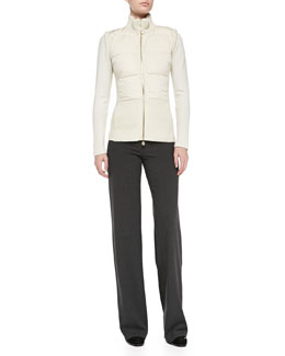 Rena Lange Quilted Down Knit-Back Vest, Multi-Ribbed Cashmere Sweater & Wide-Leg Side-Zip Trousers