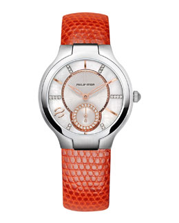 Philip Stein Small Round Diamond Watch Head & Orange Lizard Strap, 18mm