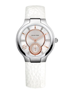 Philip Stein Small Round Diamond Watch Head & 18mm Small Grainy Calfskin Strap, White