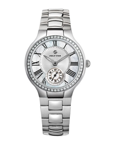Philip Stein Small Round Mother-of-Pearl Diamond Watch Head & Stainless Steel Bracelet, 18mm