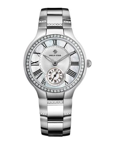 Philip Stein Small Round Mother-of-Pearl Diamond Watch Head & Stainless Steel Diamond Bracelet, 18mm