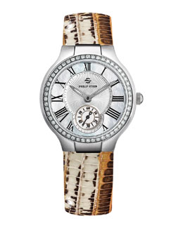 Philip Stein Small Round Mother-of-Pearl Diamond Watch Head & Bronze Lizard Strap, 18mm