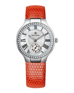 Philip Stein Small Round Mother-of-Pearl Diamond Watch Head & Orange Lizard Strap, 18mm
