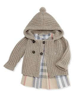 Burberry Baby Girls' Long-Sleeve Check Dress with Bloomers & Cashmere-Knit Cardigan Sweater