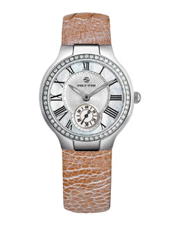 Philip Stein Small Round Mother-of-Pearl Diamond Watch Head & 18mm Small Ostrich Strap, Champagne