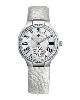 Philip Stein Small Round Mother-of-Pearl Diamond Watch Head & 18mm Small Grainy Calfskin Strap, Platinum