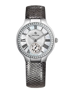 Philip Stein Small Round Mother-of-Pearl Diamond Watch Head & 18mm Karung Strap, Gunmetal