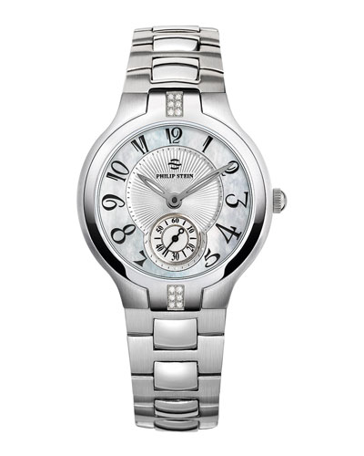 Philip Stein Small Signature Sport Diamond Watch Head & 18mm Stainless Steel Bracelet