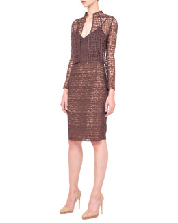 Akris St. Gallen Lace Bolero and Sleeveless Fusion-Embroidery Dress