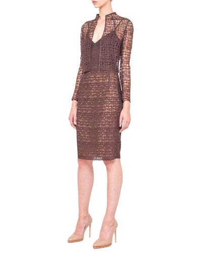 Akris St. Gallen Lace Bolero and Sleeveless Fusion-Embroidery Dress