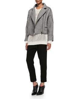 10 Crosby Derek Lam Sweater-Knit Moto Jacket, Mixed-Knit Pattern-Stripe Sweater & Jersey Track Pant Trousers