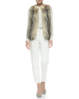 10 Crosby Derek Lam Fox Fur Vest, Silk Animal-Spot Long-Sleeve Blouse & High-Waist Tapered Pants