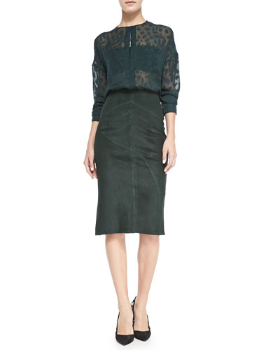 10 Crosby Derek Lam Silk Animal-Spot Blouse and Seamed Suede Pencil Skirt