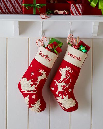 Red Santa & Sleigh Stockings
