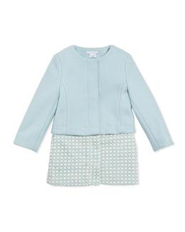 Chloe Girls' Wool Twill Crochet Two-In-One Coat, Light Blue