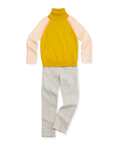 Chloe Colorblock Turtleneck Sweater & Slim-Fit Denim Jeans with Key Ring