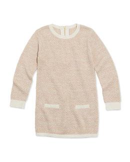 Chloe Girls' Shimmer Popcorn Knit Sweaterdress, Pink